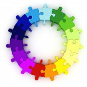 3d colorful puzzle chart wheel poster