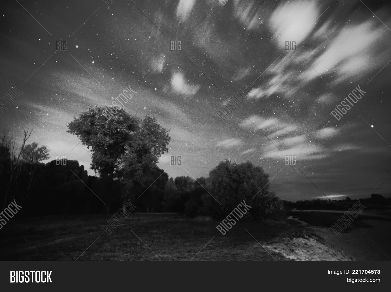 Beautiful night starry landscape black and white art monochrome photography black and white creative