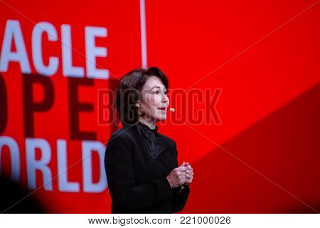 SAN FRANCISCO, CA, USA - SEPT 24, 2013: Oracle President and CFO Safra Catz makes speech at Oracle OpenWorld conference in Moscone center on Sept 24, 2013 in San Francisco, CA.