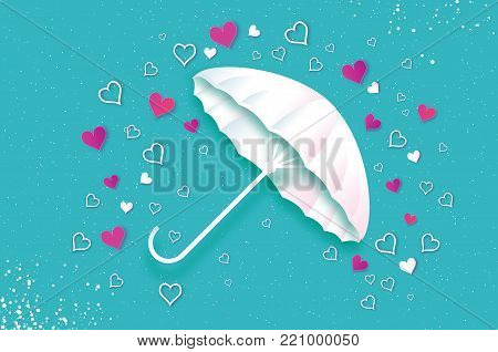 Happy Valentines day. White umbrella. Air with Love raining. Origami Heart Rain drop. Parasol. Happy Monsoon season. Heart in paper cut style on blue background. Romantic Holidays. Love. 14 February. Vector