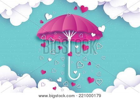 Happy Valentines day. Purple umbrella. Air with Love raining. Origami Heart Rain drop. Parasol. Happy Monsoon season. Heart in paper cut style on blue background. Cloud. Romantic Holidays.14 February. Vector