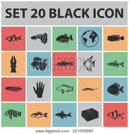 Different types of fish black icons in set collection for design. Marine and aquarium fish vector symbol stock illustration.