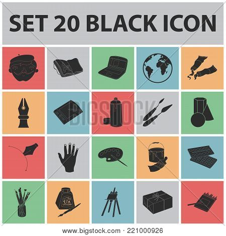 Painter and drawing black icons in set collection for design. Artistic accessories vector symbol stock  illustration.
