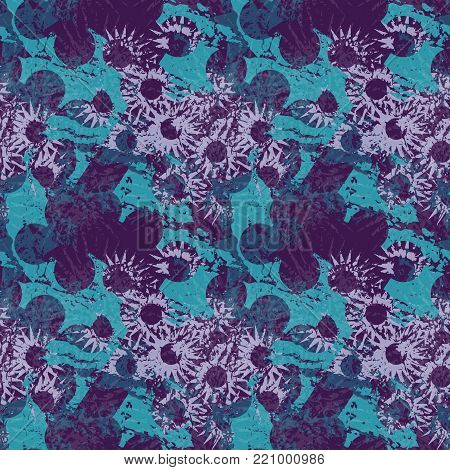 An unusual seamless pattern in the form of blue abstract figures through which the light purple flowers are visible on a dark violet background. Suitable for computer wallpapers, printing on wrapping paper or cloth