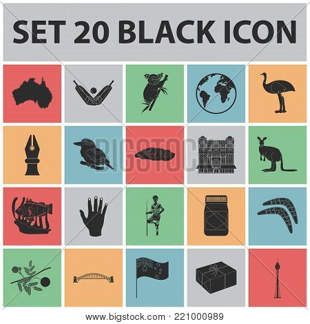 Country Australia black icons in set collection for design.Travel and attractions vector symbol stock  illustration.