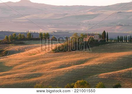 TUSCANY, ITALY - SEPTEMBER 21, 2017: September morning at the Belvedere Villa. San Quirico d'Orcia