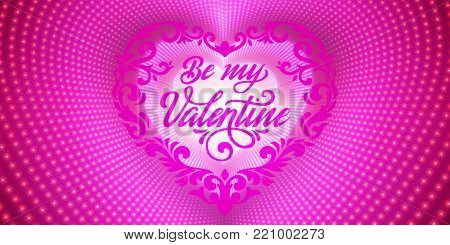 Happy Valentines Day card. Vector infinite heart-shaped tunnel of shining flares on violet background. Glowing heart tunnel. Valentines day gift or invitation card. Tender design for you love