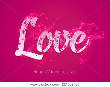 Romantic purple Valentines Day greeting card. Tender Love text decorated with wavy floating hearts and flares. Scent of love. Vector illustration for you love with Happy Valentines Day typography