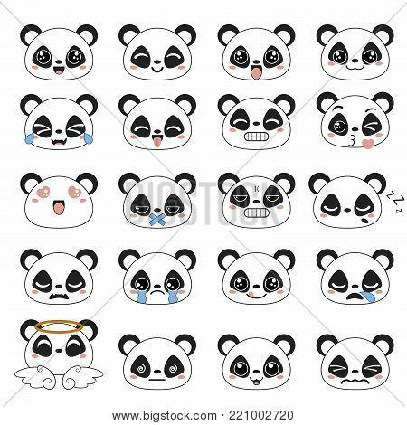 Set of cute panda emoticons. Smile icon set.