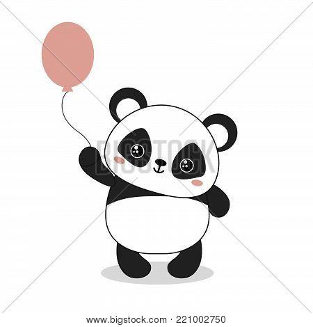 Panda bear illustration. Panda holds a balloon. Valentine's Day.