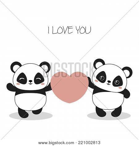 Panda bear illustration. Two pandas with heart. Valentine's Day.