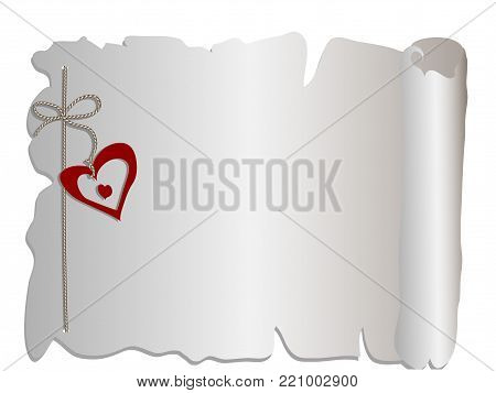 Grey  scroll with rope and red heart