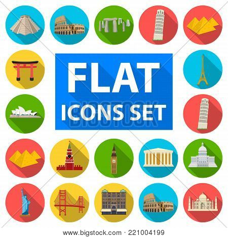 Sights of different countries flat icons in set collection for design. Famous building vector symbol stock  illustration.