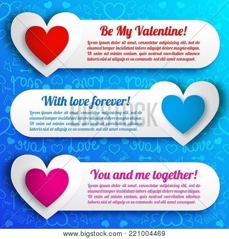 Greeting amorous horizontal banners with text paper colorful hearts on blue icons seamless pattern isolated vector illustration