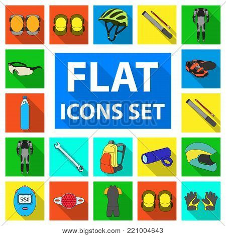 Bicycle outfit flat icons in set collection for design. Bicycle and tool vector symbol stock  illustration.