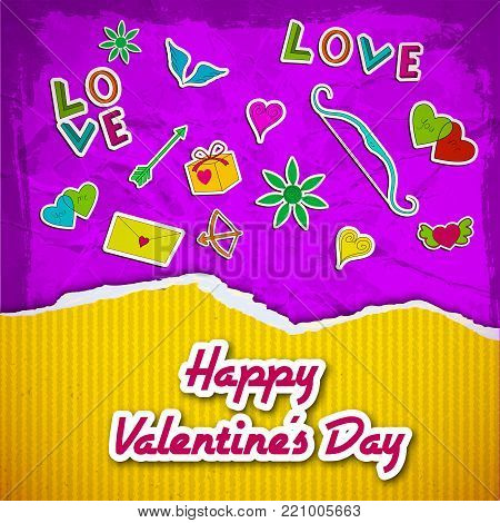 Amorous greeting template with yellow striped ragged paper romantic cartoon elements on purple crumpled background vector illustration