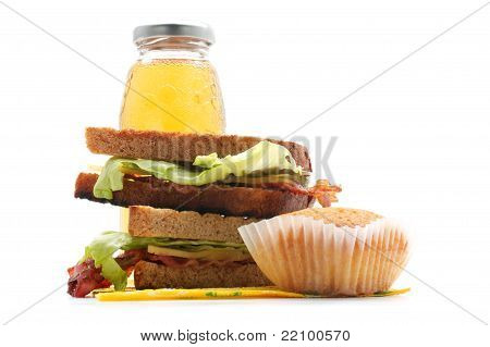 Sandwiches With Bacon, Juice, Muffin (horizontal)