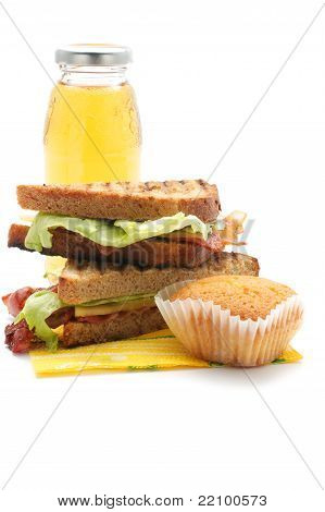Sandwiches With Bacon, Juice, Muffin