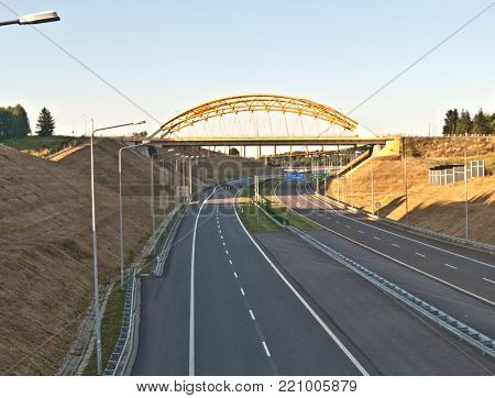 polish A1 motorway with bridge above near Mszana city in Silesia