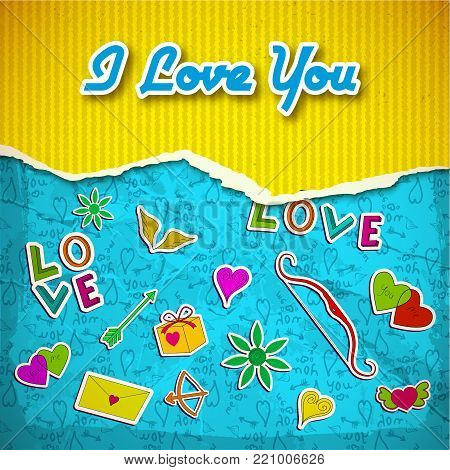 Amorous light template with yellow striped torn paper romantic cartoon elements and blue icons background vector illustration