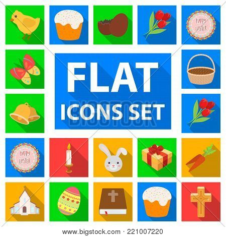 Easter is a Christian holiday flat icons in set collection for design. Easter attributes vector symbol stock  illustration.