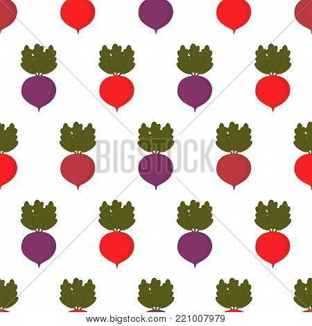 pattern with different colored beets, background with multicolored cute vegetables