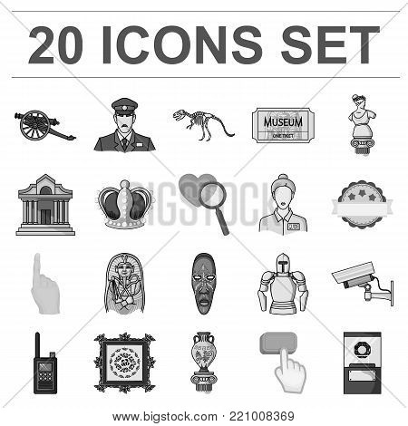 Museum and gallery monochrome icons in set collection for design. Storage and exhibition of showpiece vector symbol stock  illustration.