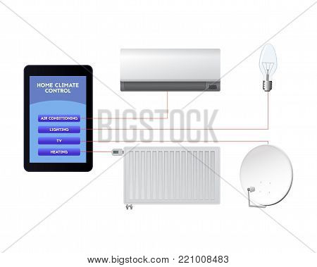 Control your smart home. Mobile technological innovations vector illustration. Air conditioning, lighting, television, heating.