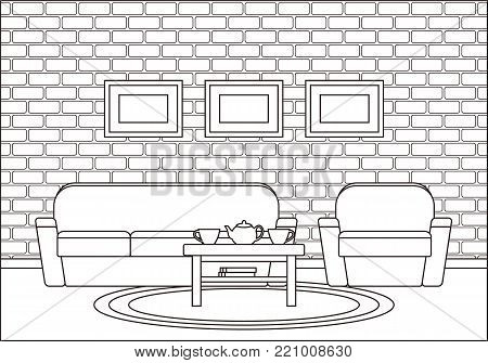 Room interior. Living room in line art. Linear vector illustration. Outline house equipment. Flat design. Home space with sofa, armchair and coffee table. Cartoon furniture.