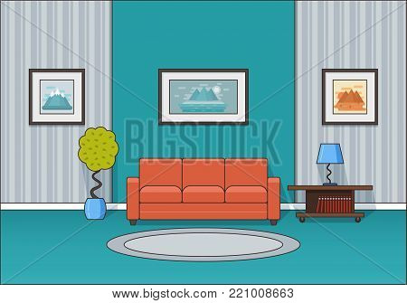 Living room interior. Room in line art flat design. Linear vector illustration. House equipment. Home space with sofa, coffee table and lamp. Cartoon furniture.