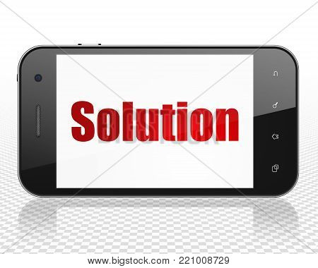 Business concept: Smartphone with red text Solution on display, 3D rendering