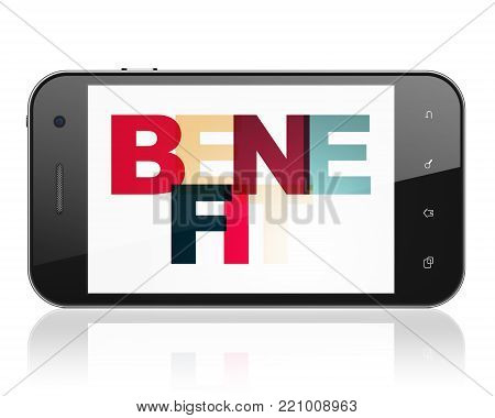 Business concept: Smartphone with Painted multicolor text Benefit on display, 3D rendering