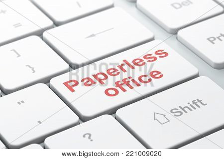 Finance concept: computer keyboard with word Paperless Office, selected focus on enter button background, 3D rendering