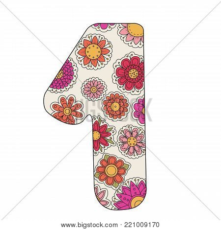 Zen coloring book for adults number one. Figure 1 tangle pattern. Flower vector illustration. Birth day.