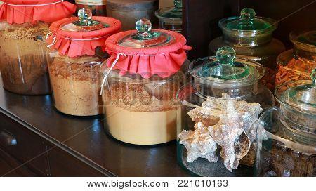 Close Up Of Bottles Of Thai Alternative Dried Herbs Medicine In Big Bottle Jar Medicine In Thai Alte