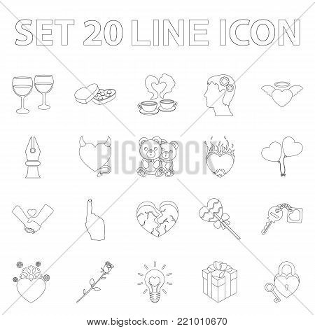 Romantic relationship outline icons in set collection for design. Love and friendship vector symbol stock  illustration.