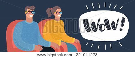 Vector cartoon illustration of couple watching movie in cinema theater in 3d glasses. Movie in stereo glasses. Looking on the Screen in Dark Movie Hall. Cinema Advertising. Horizontal banner