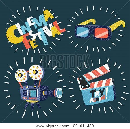 Vector cartoon illustration of Cinema icons set on dark background. Retro camera, 3d glasses, clapperboard on dark background. Modern graphic concept.
