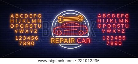 Car service repair logo vector, neon sign emblem. Vector illustration, car repair, shiny signboard for garage for auto repair. A flaming banner, a nightly bright signboard. Editing text neon sign.