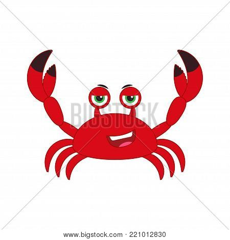cartoon illustration of a smiling crab, lifting up claws, isolated on white background. Vector illustration