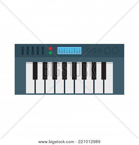 Music Synthesizer Icon. Electronic Piano. Vector Illustration on white background