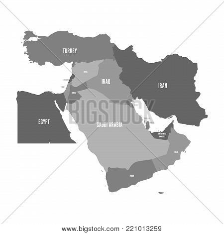 Map of Middle East, or Near East, in shades of grey. Simple flat vector ilustration.