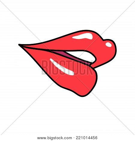 Vektor red lips isolated on white. Lips kiss sign, sticker, patch badge. Female mouth. Icon pop art 80s 90s style. Love valintines day symbol. Fashion illustration for banner, greeting card, textile.