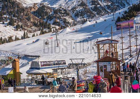 Almaty, Kazakhstan 18 December 2018: Shymbulak Ski Resort Near Almaty, Kazakhstan