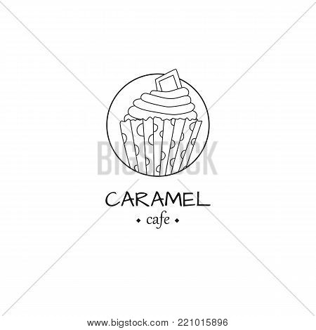 Cafe logo with cupcake in simple style. For web, print and creative design