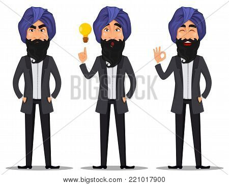 Indian business man cartoon character  set. Young handsome businessman in business suit and turban with angry emotion, having an idea and showing ok sign - stock vector