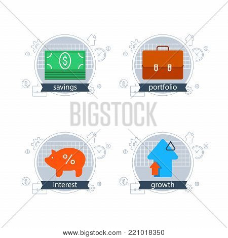 Financial services, investment strategy, accountancy concept, advisory, business trend, budget planning, income growth, fund raising, money bundle, savings account, finance loan, vector flat icon