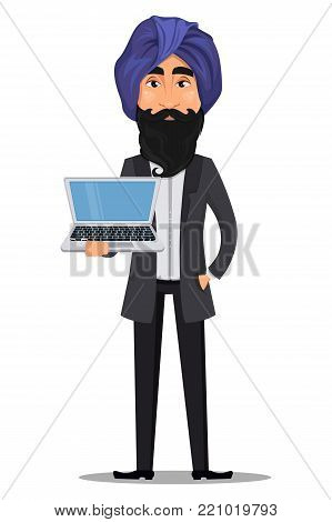 Indian business man cartoon character. Young handsome businessman in business suit and turban holding laptop - stock vector