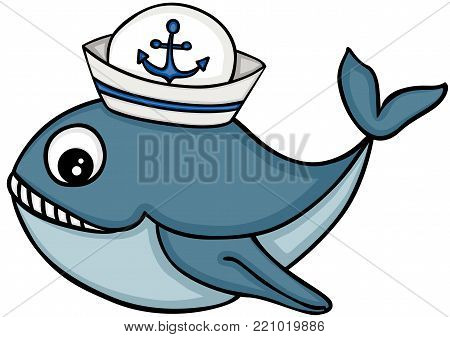 Scalable vector cute whale with sailor hat, illustration isolated on white background.