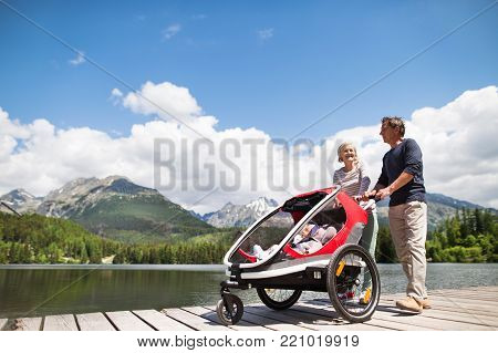 Senior couple and grandchildren in jogging stroller, summer day. High mountains in the background.